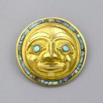 Gold and Abalone Shell Haida Moon Pendant by Northwest Coast Native Artist Carmen Goertzen