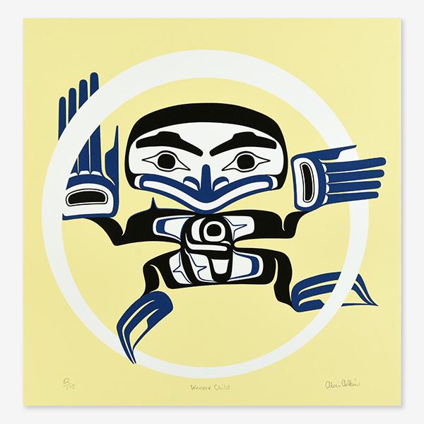 Wonder Child Print in Yellow by Northwest Coast Native Artist Alvin Adkins