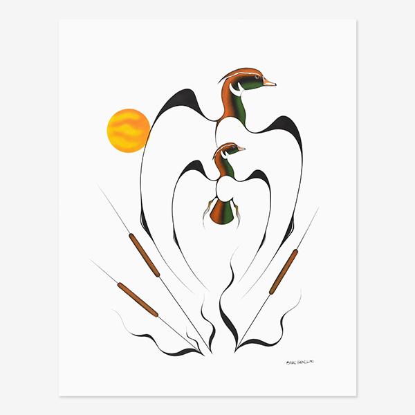 Wood Ducks Original Painting by Plains Native Artist Isaac Bignell