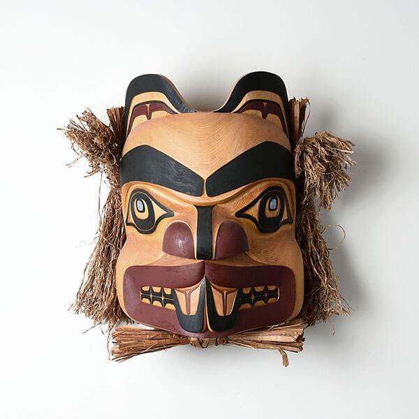 Wood, Bark, and Abalone Shell Beaver Mask by Northwest Coast Native Artist Lyle Campbell