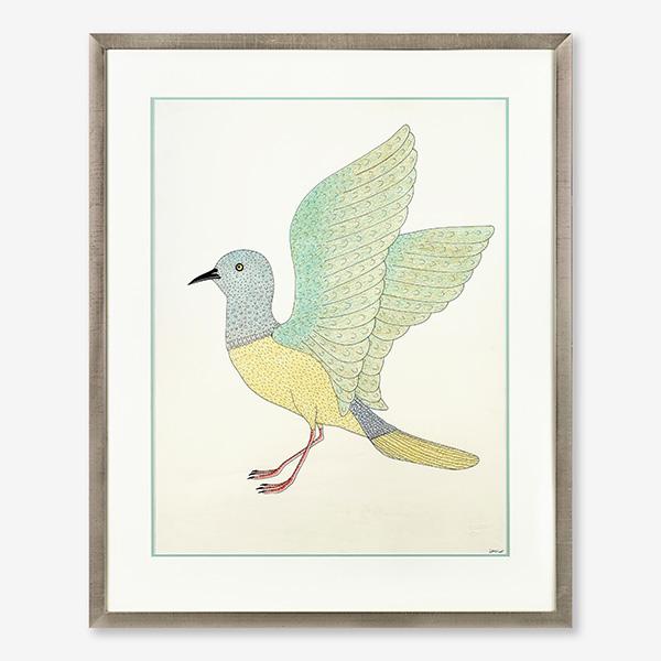 Framed Bird Original Drawing by Inuit Artist Qavavau Manumie