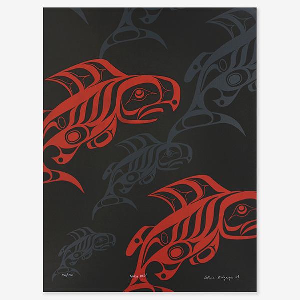 Taku Red Print by Northwest Coast Native Artist Alano Edzerza