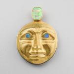 Gold, Abalone Shell, and Ivory Moon Amulet by Northwest Coast Native Artist Jay Simeon