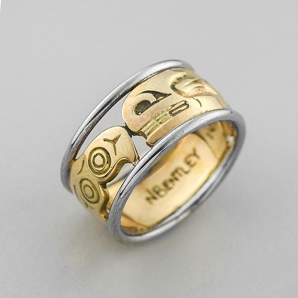 Gold Killerwhale Ring by Northwest Coast Native Artist Norman Bentley