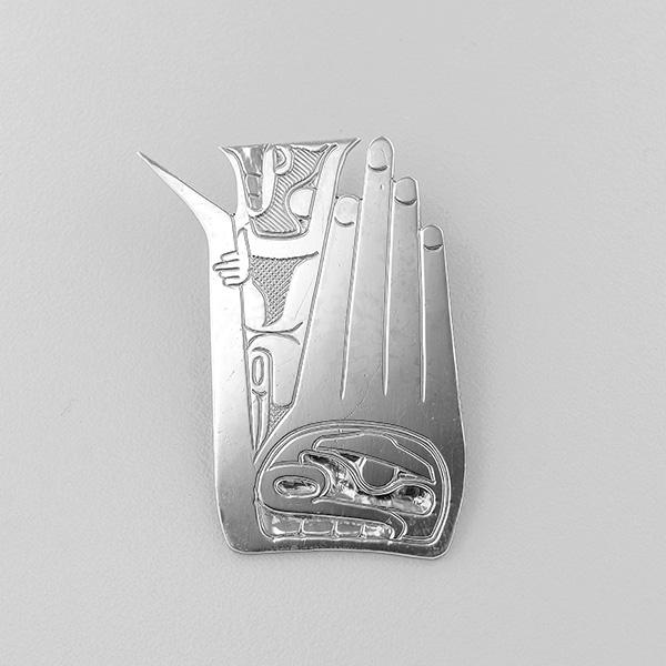 Silver Hand Pendant by Northwest Coast Native Artist Norman Tait