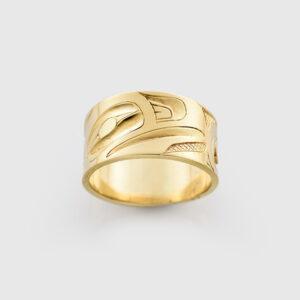 Gold Raven Ring by Northwest Coast Native Artist Alvin Adkins