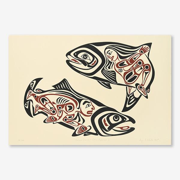 Salmon Dance I Print by Northwest Coast Native Artist April White
