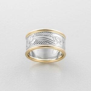 Gold Hummingbird Ring by Northwest Coast Native Artist Carmen Goertzen