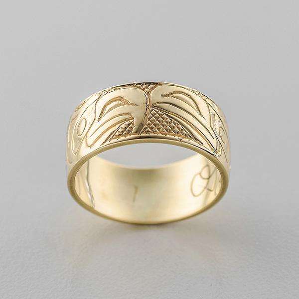 Gold Raven and Eagle Ring by Northwest Coast Native Artist Carmen Goertzen