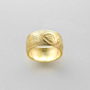 Gold Hummingbird Ring by Northwest Coast Native Artist Kelvin Thompson