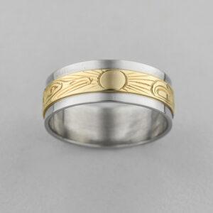 Gold Raven Ring by Northwest Coast Native Artist Lloyd Wadhams Jr.
