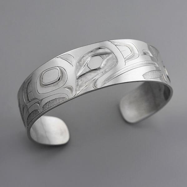 Silver Raven Bracelet by Northwest Coast Native Artist Alvin Adkins