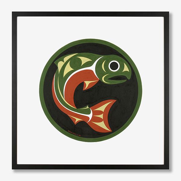 Framed Salmon Original Painting by Northwest Coast Native Artist Maynard Johnny Jr.