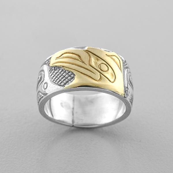 Silver and Gold Raven Ring by Northwest Coast Native Artist Carmen Goertzen