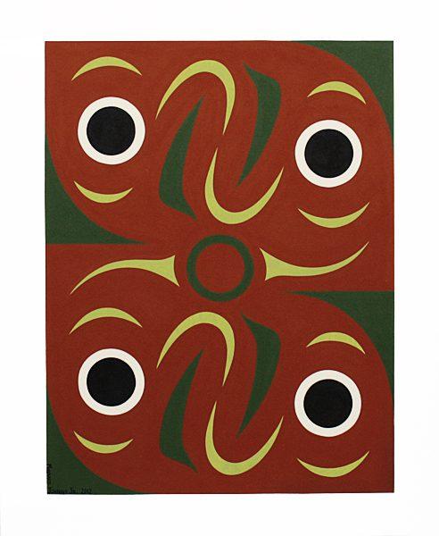 Four Salmon Original Painting Print by Northwest Coast Native Artist Maynard Johnny Jr.