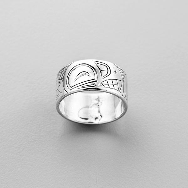 Silver Killerwhale Ring by Northwest Coast Native Artist Robert Stanley