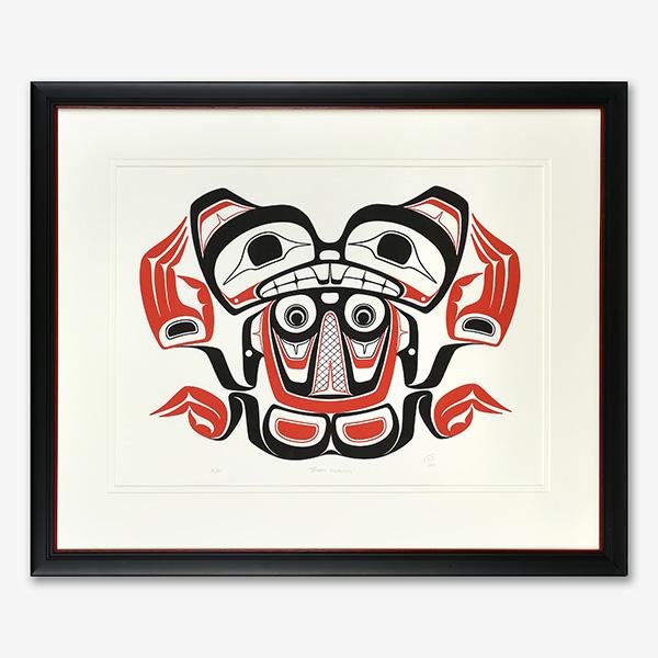 Framed Beaver Swimming Print by Northwest Coast Native Artist Norman Tait