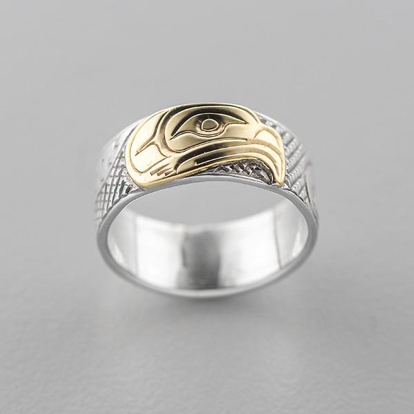 Silver and Gold Eagle Ring by Northwest Coast Native Artist Lloyd Wadhams Jr.
