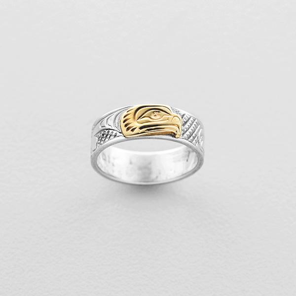Silver and Gold Thunderbird Ring by Northwest Coast Native Artist Lloyd Wadhams Jr.