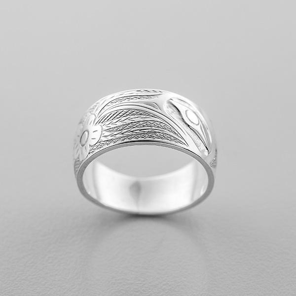 Silver Hummingbird Ring by Northwest Coast Native Artist Allen Thompson