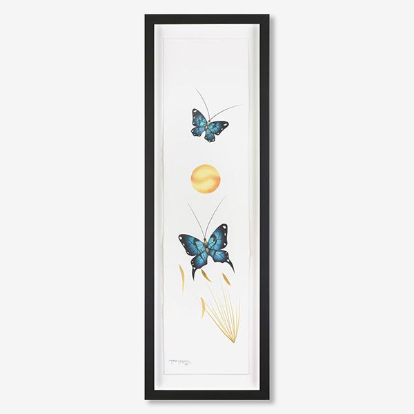 Framed Butterflies Original Painting by Plains Native Artist Garnet Tobacco