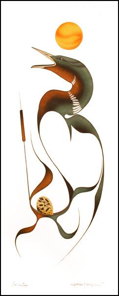 Nesting Loon Original Painting by Plains Native Artist Garnet Tobacco