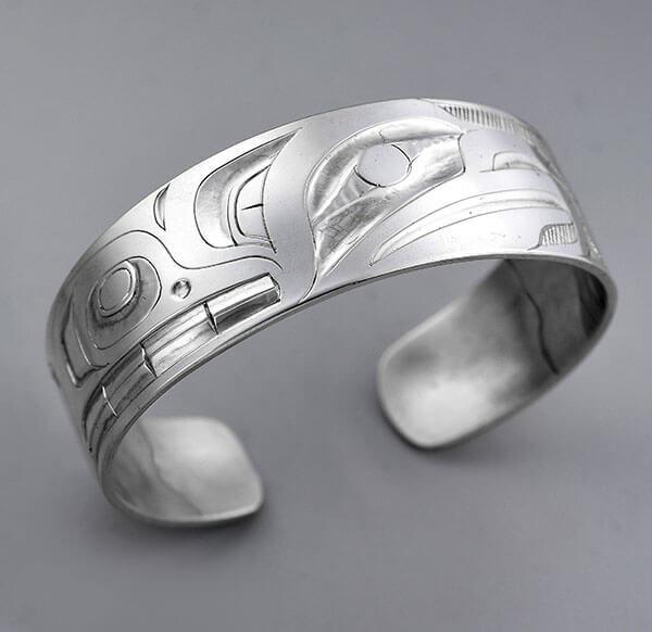 Silver Hawk Bracelet by Northwest Coast Native Artist Alvin Adkins