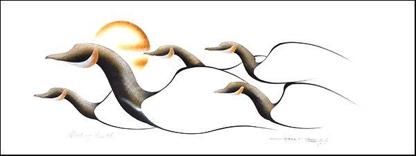 Heading South Original Painting by Plains Native Artist Garnet Tobacco