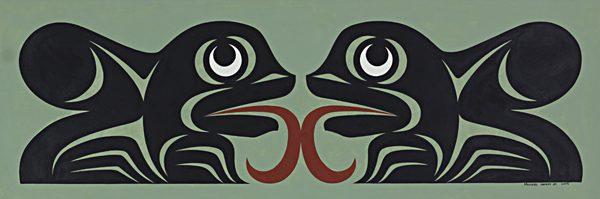 Frogs Facing Original Painting by Northwest Coast Native Artist Maynard Johnny Jr.