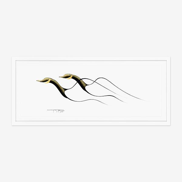 Original Canada Geese Painting by Cree Native Artist Garnet Tobacco