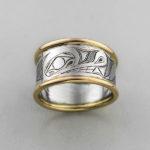 Gold Wolf Ring by Northwest Coast Native Artist David Neel