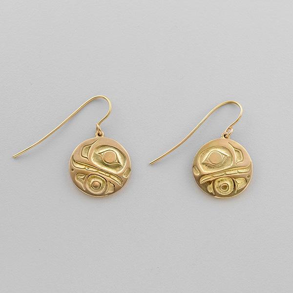 Gold Killerwhale Earrings by Northwest Coast Native Artist Philip Janze