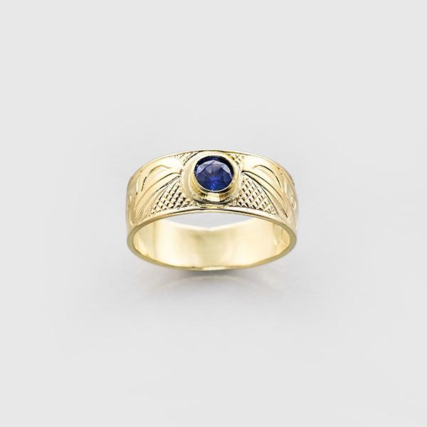 Gold Raven Ring with Sapphire by Northwest Coast Native Artist Carmen Goertzen
