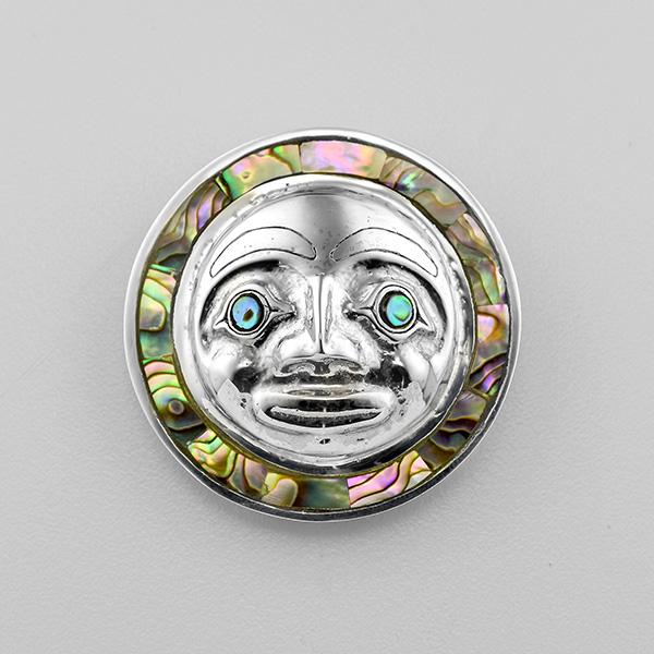 Silver and Abalone Shell Moon Pendant by Northwest Coast Native Artist Carmen Goertzen