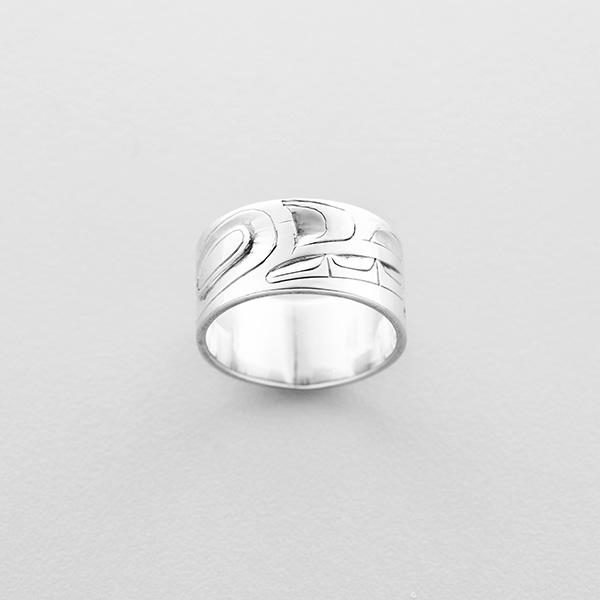 Silver Wolf Ring by Northwest Coast Native Artist Alvin Adkins