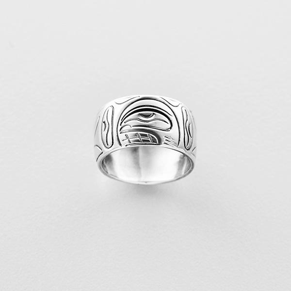 Silver Killerwhale Ring by Northwest Coast Native Artist John Lancaster