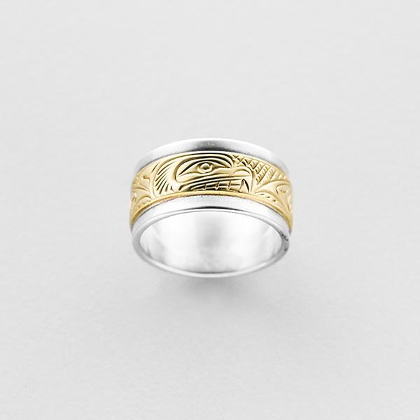 Silver and Gold Bear Ring by Northwest Coast Native Artist Lloyd Wadhams Jr.