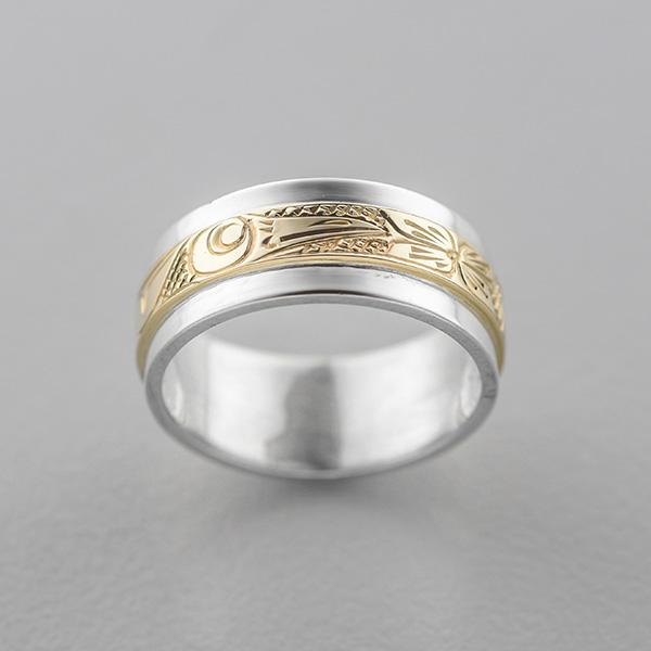 Silver and Gold Hummingbird Ring by Northwest Coast Native Artist Lloyd Wadhams Jr.