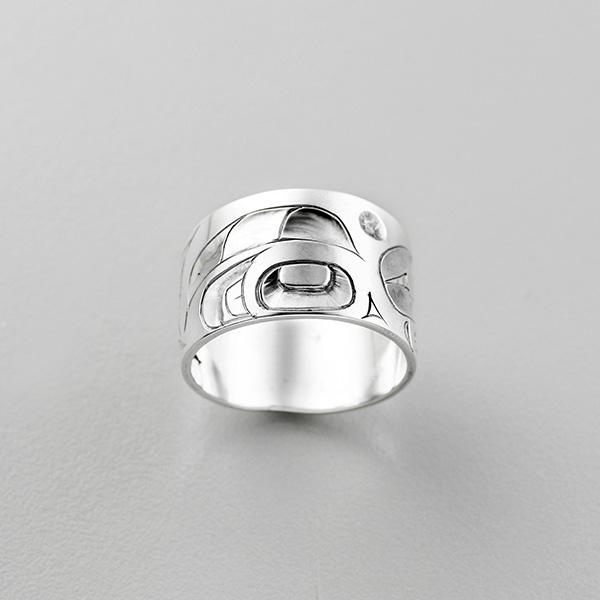 Silver Killerwhale Ring by Northwest Coast Native Artist Alvin Adkins