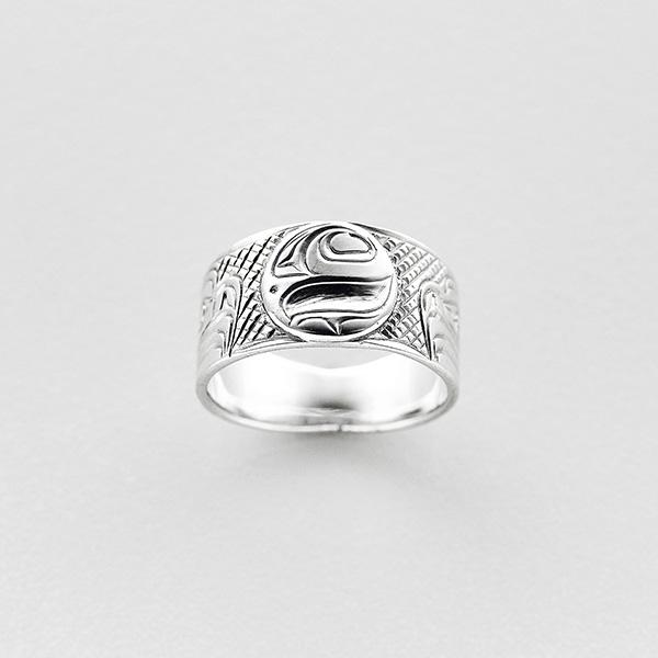 Silver Eagle and Salmon Ring by Northwest Coast Native Artist Lloyd Wadhams Jr.