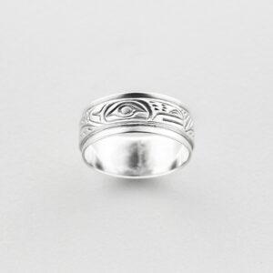 Silver Beaver Ring by Northwest Coast Native Artist Lloyd Wadhams Jr.