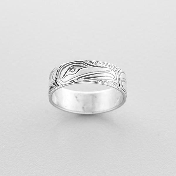 Silver Raven Ring by Northwest Coast Native Artist Lloyd Wadhams Jr.