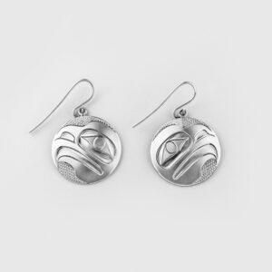 Silver Raven Earrings by Northwest Coast Native Artist James Adkins