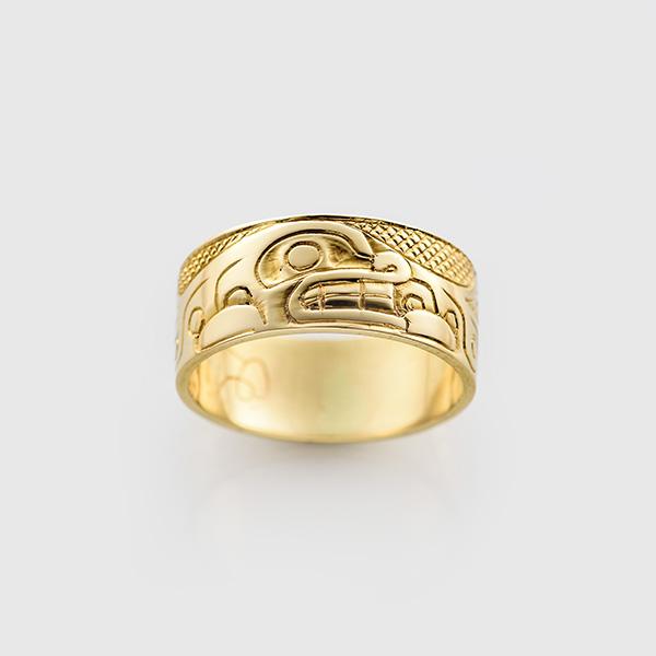 Gold Killerwhale Ring by Northwest Coast Native Artist Carmen Goertzen