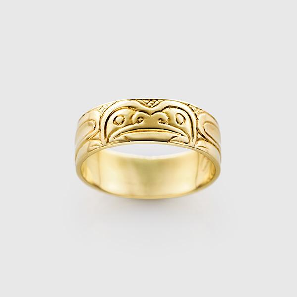 Gold Frog Ring by Northwest Coast Native Artist Carmen Goertzen