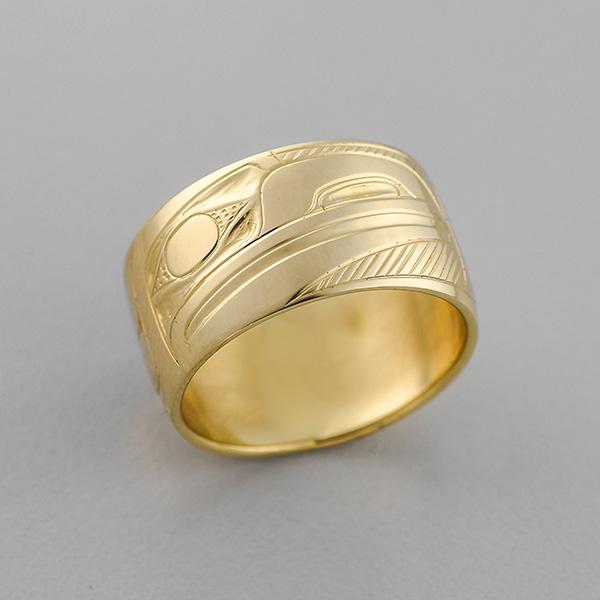 Gold Raven Ring by Northwest Coast Native Artist Henry Green