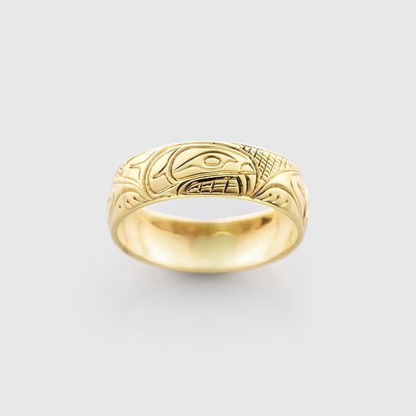 Gold Beaver Ring by Northwest Coast Native Artist Lloyd Wadhams Jr.