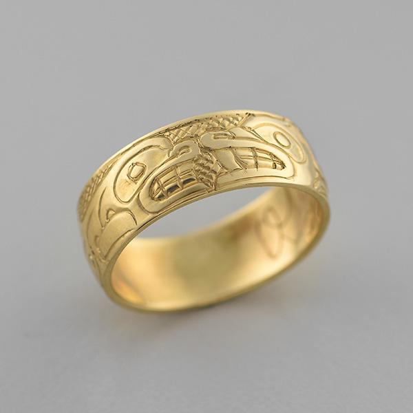 Gold Wolf and Killerwhale Ring by Northwest Coast Native Artist Carmen Goertzen