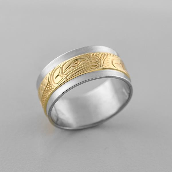 Gold Eagle Ring by Northwest Coast Native Artist Lloyd Wadhams Jr,