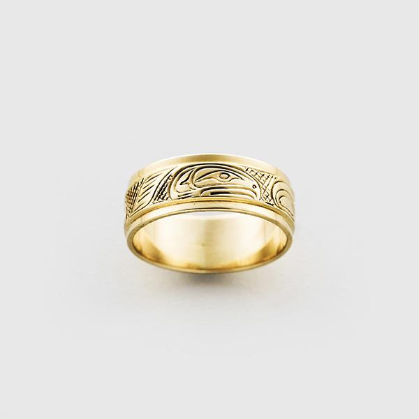 Gold Hawk Ring by Native Artist Lloyd Wadhams Jr